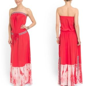 Gypsy 05 Embroidered red maxi dress w/tiedye